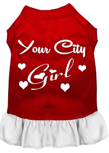 Custom City Girl Screen Print Souvenir Dog Dress Red with White Lg
